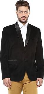 Black Shawl Collar Textured Velvet Tuxedo Blazer