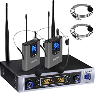 Hotec UHF Dual Wireless Microphone System with Lapel Lavalier and Headset Microphones Over PA, Mixer, Speaker, Karaoke Mac...