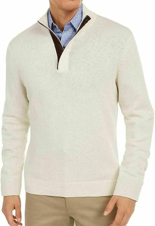Tasso Elba Mens Sweater 1/4 Zip Ribbed Knit Pullover Beige XL