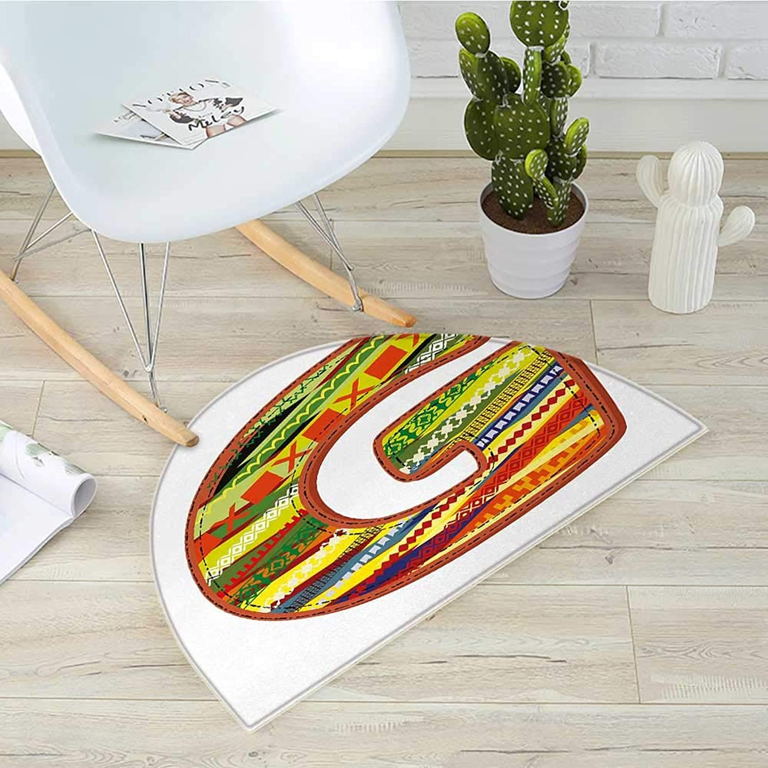 Letter G Half Round Door mats G Letter Character Language System Learning College Surname Red Calligraphy Design Bathroom Mat H 35.4  xD 53.1  Multicolor