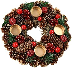 """15/"""" grosses Christmas Red Berry Rustique Suspendu porte couronne Poinsettia Décoration"""