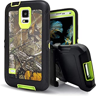 Samsung Galaxy S5 Case,Vodico Rugged Heavy Duty Shockproof Dirtproof Military Grade Drop Scratch Resistant Hybrid Bumper Full Body Protective Case with Belt Clip Holster&Built-in Screen (Xtra Green)
