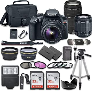 دوربین کانن EOS Rebel T6 DSLR با کانن EF-S 18-55mm f / 3.5-5.6 IS II لنز + کانن EF 75-300mm f / 4-5.6 III لنز + 2 پیکسل SanDisk 32GB کارت حافظه + کیت لوازم جانبی