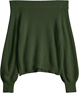 Zaful Off The Shoulder Lantern - Sudadera de manga larga para mujer