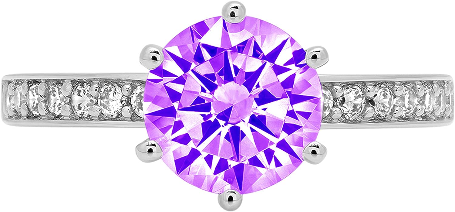 1.93ct Brilliant Round Cut Solitaire Natural Purple Amethyst Gem Stone VVS1 Designer Modern Statement with accent Ring Real Solid 14k White Gold Clara Pucci