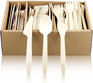 Kosdeg Disposable Wooden Cutlery Set - 300 PCS Of Reinforced Birch Wood - Plastic Free Compostable Cutlery - Biodegradable Durable Sharp Knives and Deep Wooden Spoons - Tackle Tough Vegetables Easily