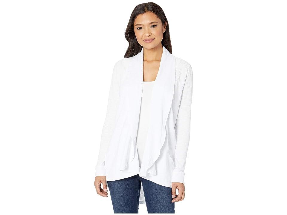Mod-o-doc Textured Slub Stripe Raglan Sleeve Kangaroo Pocket Cardigan (White) Women