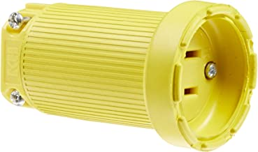 product image for KH Industries C515DF Rubber/Polycarbonate Rewireable Flip Seal Straight Blade Connector, 2 Pole/3 Wire, 15 amps, 125V AC, Yellow