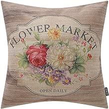 TRENDIN Decorative Throw Pillow Cover 18x18 inch Wood Flower Market Cushion Case Square Shape PL309TR