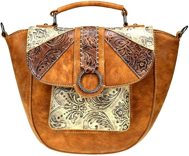 Montana West Distressed Effect Floral Tooled Shoulder Saddle Bag