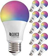 Sunco Lighting 10 Pack WiFi LED Smart Bulb, A19, 6W, Color Changing (RGB & CCT), Dimmable, 480 LM, Compatible with Amazon ...