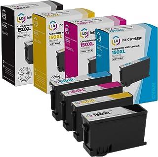 LD Compatible Lexmark 150XL Set of 4 High Yield Inkjet Cartridges: 1 Black 14N1614, 1 Cyan 14N1615, 1 Magenta 14N1616 and ...