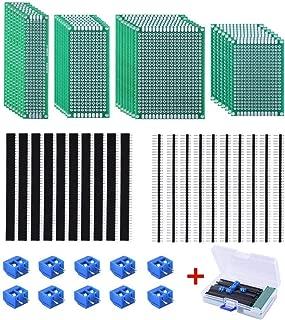 AUSTOR 30 Pcs Double Sided PCB Board Kit 4 Sizes Circuit Board with 20 Pcs 40 Pin 2.54mm Header Connector for DIY(Bonus: 10 Pcs Screw Terminal Blocks)