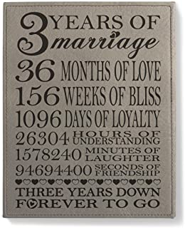 Kate Posh - Our 3rd Wedding Anniversary, 3rd Anniversary Gifts for couple, 3 Years Anniversary, 3 Years of Marriage, Third Anniversary Gifts for Her, Gifts for Him - Engraved Leather Plaque