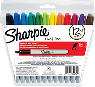 Sharpie 30072 Permanent Markers, Fine Point, Assorted Colors, 12 Count