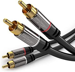 KabelDirekt RCA Stereo Cable, Cord (3 feet Short, Dual 2 x RCA Male to 2 x RCA Male Audio Cable, Digital & Analogue, Double-Shielded, Pro Series) Supports (Amplifiers, AV Receivers, Hi-Fi)