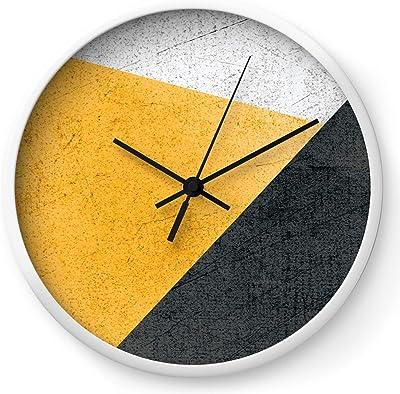 Society6 Modern Yellow & Black Geometric by Dreamprintdesigns on Wall Clock - White - Black