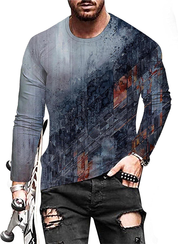 Huangse Mens Cyberpunk Graphic Tees Casual Long Sleeve Crewneck T-Shirt 3D Print Streetwear Pattern Vintage T Shirts