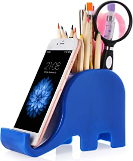 Pen Pencil Holder with Phone Stand, Coolbros Elephant Shaped Pen Container Cell Phone Stand Carving Brush Scissor Holder Desk Organizer Decoration for Office Desk Home Decorative (Blue)