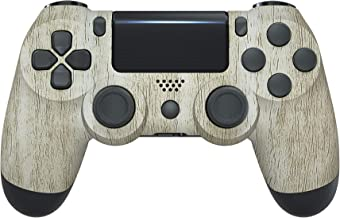 eXtremeRate Pine Wood Grain Soft Touch Grip Front Housing Shell Faceplate Cover for Playstation 4 PS4 Slim PS4 Pro Control...