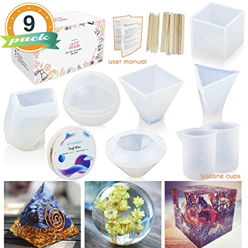 6 Pack Resin Molds LETS RESIN Large Resin Silicone Molds for Casting Resin, Soap,