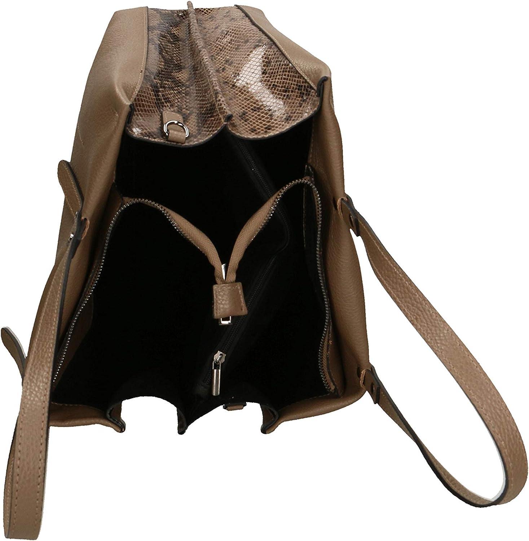Roberta Rossi Sac pour femme en cuir véritable F/W 2021 Sauvage + Calfhair fait main en Italie, 37x35x16 cm. Fabriqué en Italie RRFW2102ST090FBNOL_P Taupe
