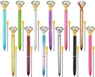 Zealor 12 Pieces Diamond Pens and 12 Extra Pen Refills, Big Diamond Crystal Metal Ballpoint Pen Office Supplies Assotred Colors, Black Ink