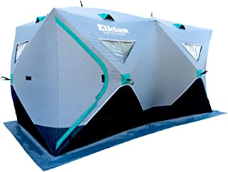 Elkton Outdoors Portable 3-8 Person Insulated Double Ice Fishing Tent with Ventilation Windows and Carry Pack, Ice Fishing Shelter Includes Tent, Carry Pack, Ice Anchors and Storage Pockets