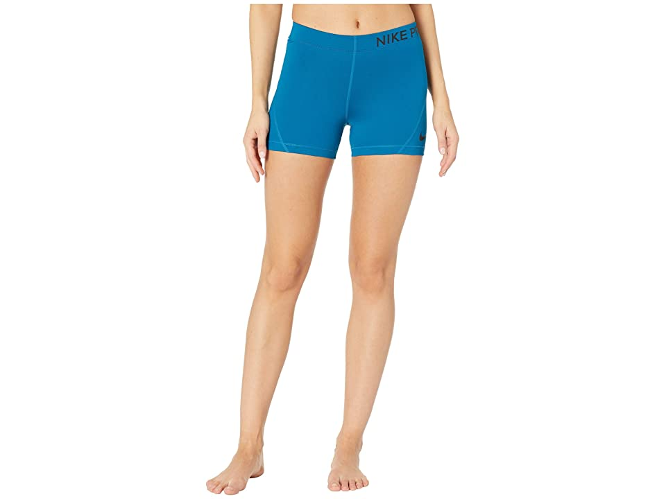Nike Pro 3 Training Short (Green Abyss/Black) Women's Shorts, Blue
