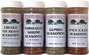 River Road By Fiesta Cajun Seasoning Favorites 4 Flavor Variety Bundle: (1) Barbequed Shrimp Seasoning, (1) Creole Pot Roast Seasoning, (1) Gumbo Seasoning, and (1) Spicy Cajun Seasoning, 1.25-2.75 Oz. Ea. (4 Bottles Total)