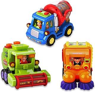 AOKESI Juguetes para camión de bebé, 3 unidades, autos de juguete para niños pequeños, vehículos de construcción, vehículos preescolares, juegos de bebé, juego de autos para niños de 1 2 a 3 años, regalo para niños pequeños