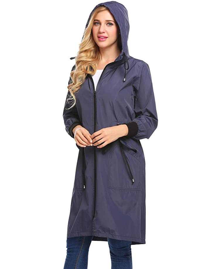 Zeagoo Women's Lightweight Waterproof Raincoat Hood Long Outdoor Hiking Rain Jacket