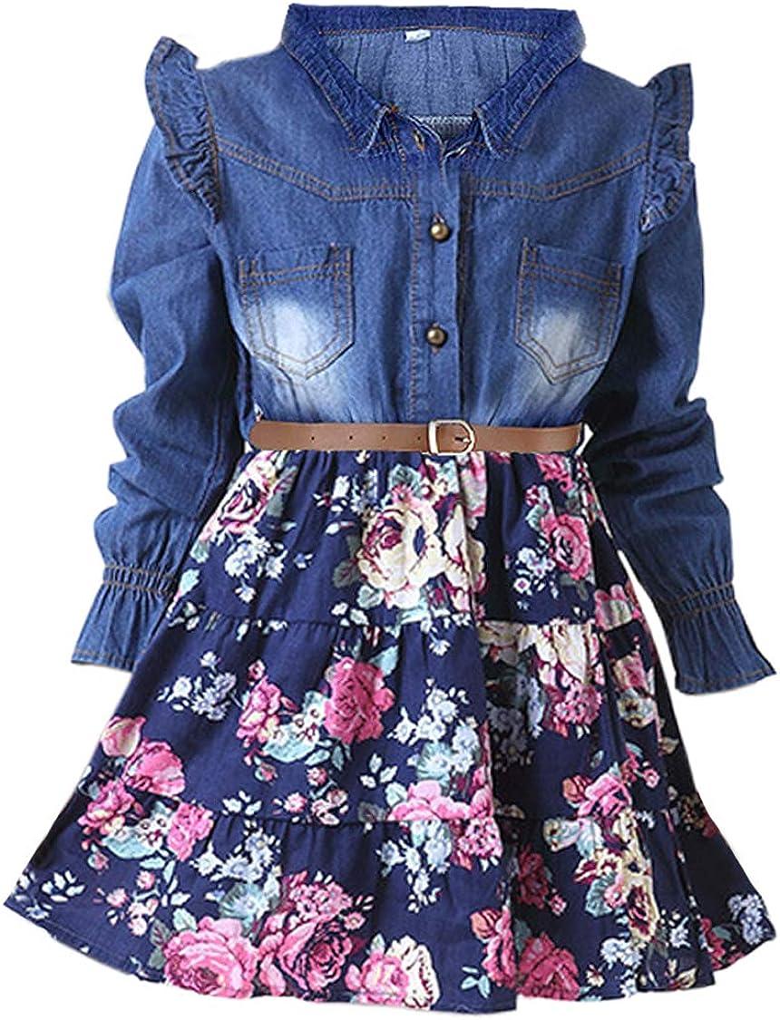 Bototao Toddler Kids Girls Dress Washed Denim Floral Print Sleeveless Skirt Party Dress One-Piece Clothes Summer