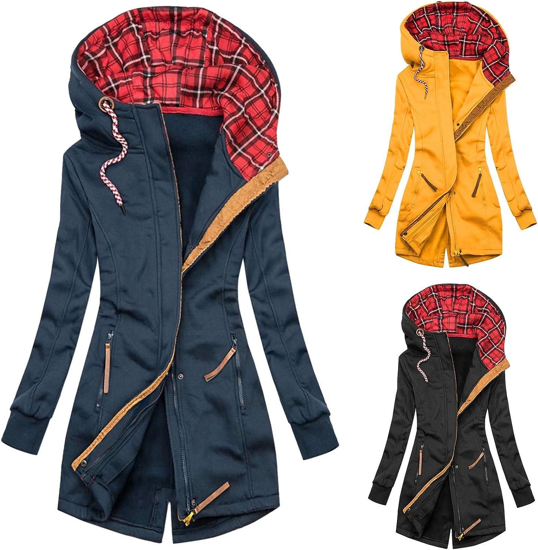 Chejarity Damen Sweatjacke Zip Hoodie Oberteile Kapuzenpulli Basic Einfarbig/Farbblock Casual Herbst Winter Pullover Sweatshirt Jacke Schwarz-4