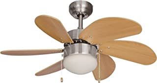 Hardware House 10-4852 Dual Mount, 6 Beechwood Blades Ceiling fan with 50 watts light, Satin Nickel