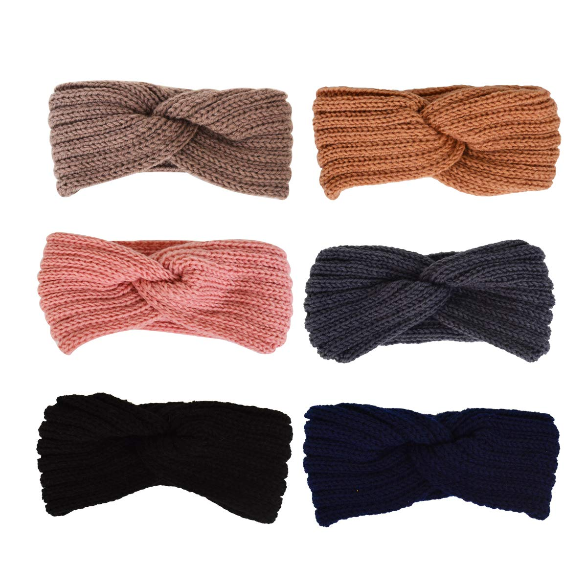 Bleiou 6 Pack Winter Warmer Ear Knitted Headband Turban For Lady Women Assorted Colors