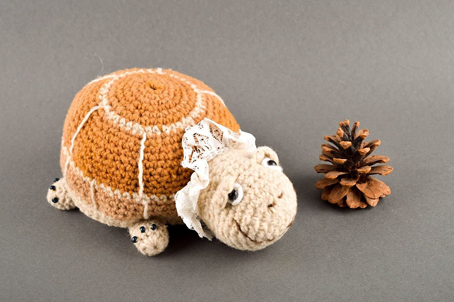 Handmade Unusual Turtle Toy Beautiful Knitted Toy Designer Textile Toy