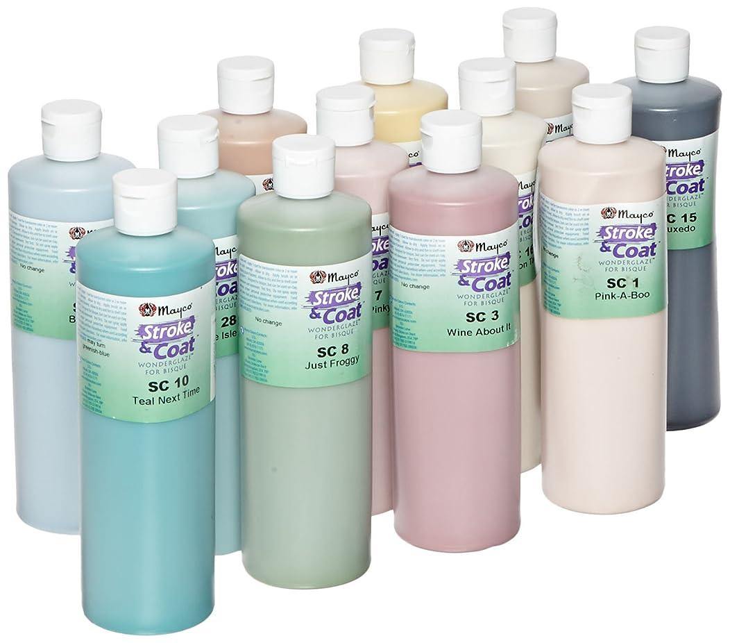 Mayco Stroke & Coat Wonderglaze Glaze Set B, Assorted Colors, Set of 12 Pints