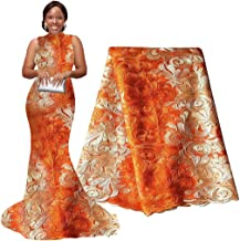 pqdaysun 5 Yards African Net Lace Fabrics Nigerian French Fabric Embroidered and Rhinestones Guipure Cord Lace (orange and white) …