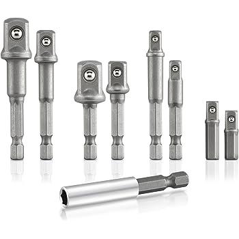 WEI-LUONG Tools 3Pcs Socket Impact Driver Adapter SDS Plus Shank 1//2 3//8 1//4 Inch Power Extension Drill Bit Bar Drill Drill Bit