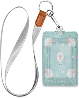 HMZXZ Porte-badge d'identification vertical en cuir synthétique avec cordon détachable - Motif animal de mouton et fleur -...