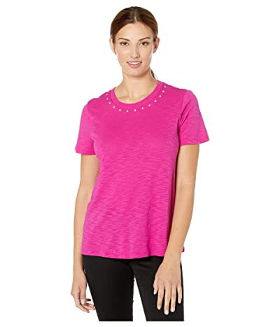 Vince Camuto Short Sleeve Studded Crew Neck Tee (Pink Shock) Women