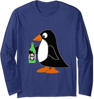 Smileteesall Funny Penguin Drinking Beer Cartoon Long Sleeve T-Shirt