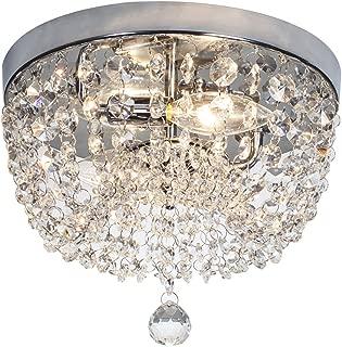 SOTTAE 2 Lights Ceiling Light Pendant Fixture Lighting Chrome Finish Modern Crystal Chandelier, Crystal Ceiling Light(9.8