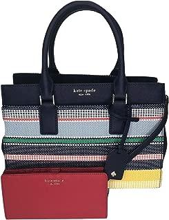 Kate Spade New York Cameron Medium Satchel WKRU5931 bundled with matching Slim Bifold Wallet (bwlk strp/hotchili)