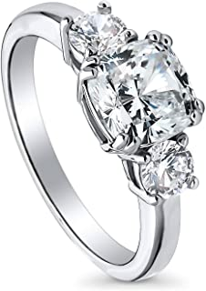 Rhodium Plated Sterling Silver Cushion Cut Cubic Zirconia CZ 3-Stone Anniversary Promise Engagement Ring 2.5 CTW