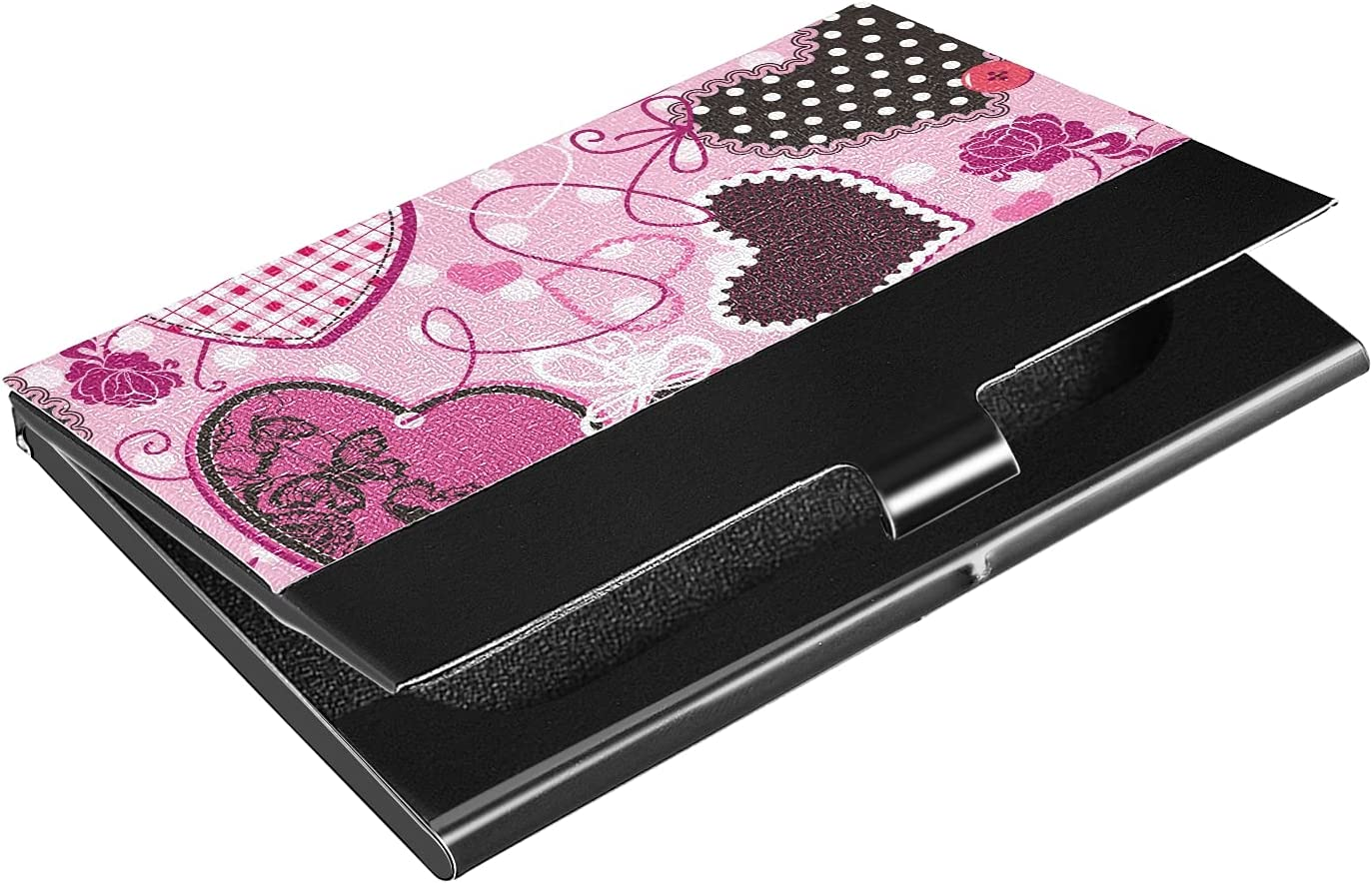 Boston Mall OTVEE Pink and Black Hearts Wallet Holder Stainles Outlet sale feature Business Card