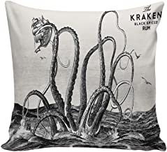 Comfortable Throw Pillow Cover for Bedding, Decorative Accent Cushion Sham Case for Couch Sofa, Soft Solid Satin with Zipper Hidden - 18x18 in, The Kraken Black Spiced Rum Retro Octopus in Ocean
