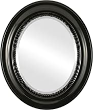 Oval Wall Mirror for Home Decor, Bedroom, Living Room, Bathroom | Decorative Framed Beveled Mirror | Heritage Style - Gloss Black - 21x25 Inch Outside Dimensions