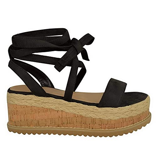 17e5263443f Miss Image UK Womens Ladies New Flatform Cork Wedge Platform Espadrilles  Sandals Ankle Lace up TIE